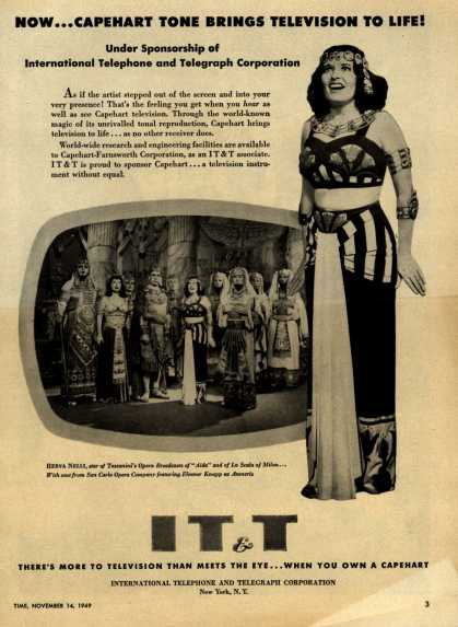 International Telephone and Telegraph Corporation's Capehart Television – Now... Capehart Tone Brings Television to Life! Under Sponsorship of International Telephone and Telegraph Corporation (1949)