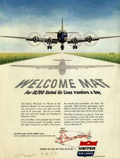 United Air Line's Service in the Mainliner Manner – Welcome Mat for 10,700 United Air Lines travelers a day (1953)