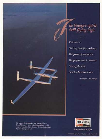 Voyager Airplane Aircraft Champion Spark Plugs (1987)