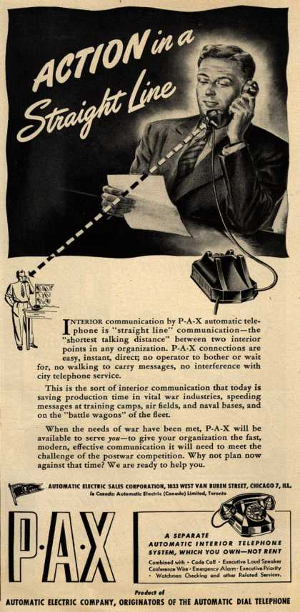 Automatic Electric Sales Corporation's P-A-X automatic telephones – Action in a Straight Line (1944)