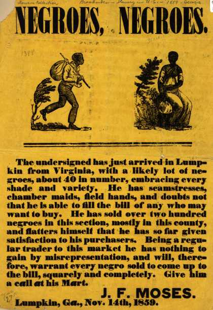 J. F. Moses – NEGROES, NEGROES. (1859)