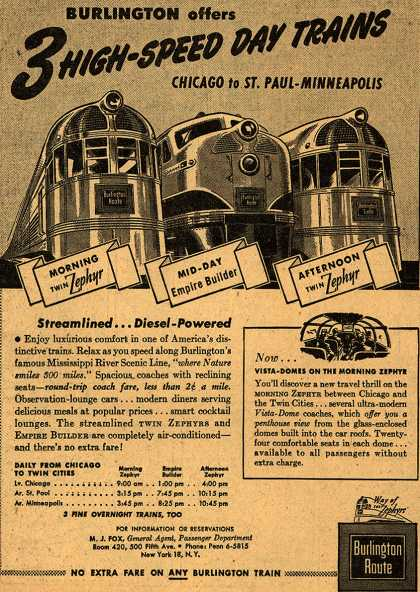Burlington Route's Twin Zephyr and Empire Builder – Burlington offers 3 HIGH-SPEED DAY TRAINS (1947)