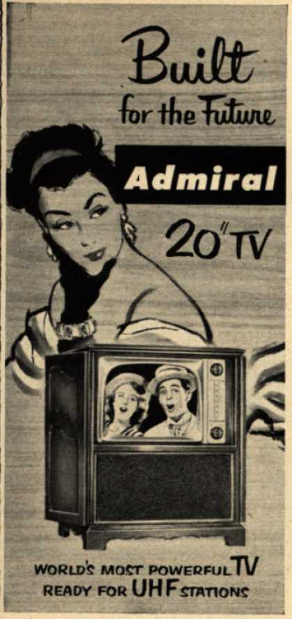 """Admiral Corporation's Television – Built for the Future. Admiral 20"""" TV. World's Most Powerful TV. Ready for UHF Stations. (1951)"""