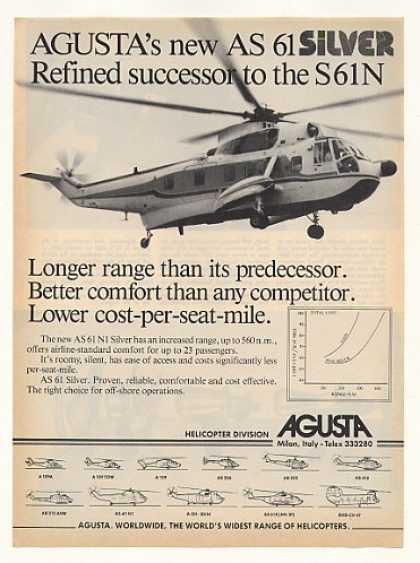 Agusta AS 61 Silver Helicopter Photo (1982)