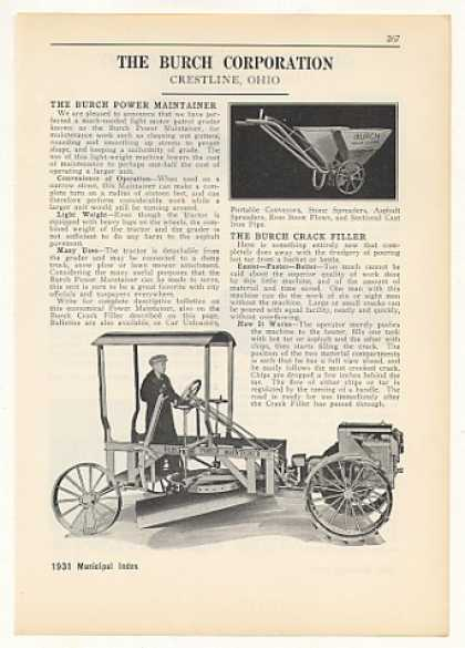 Burch Power Maintainer Grader Tractor (1931)