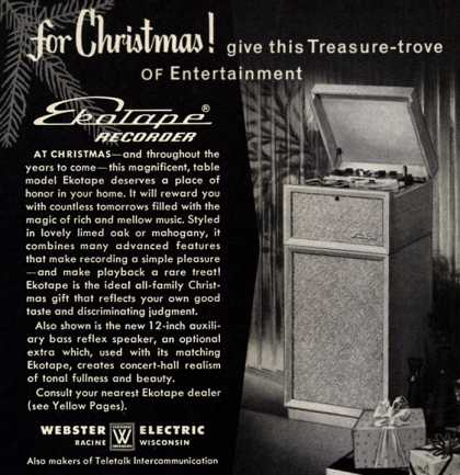 Webster Electric's Ekotape Recorder – For Christmas! Give This Treasure-trove of Entertainment (1956)