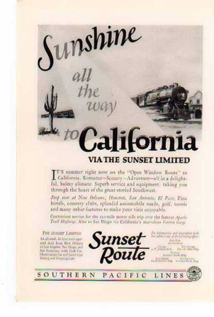 Southern Pacific Railroad – Sunshine all the way (1926)