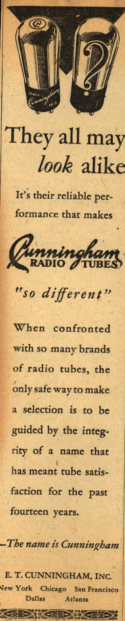 E.T. Cunningham's Radio Tubes – They all may look alike (1929)