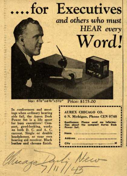 Aurex Chicago Company's Aurex Desk Power Set – ... for Executives and others who must Hear every Word (1945)