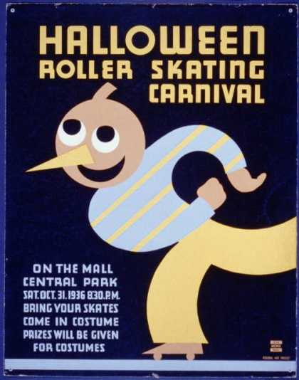 Halloween roller skating carnival – On the mall, Central Park – Bring your skates – Come in costume – Prizes will be given for costumes. (1936)