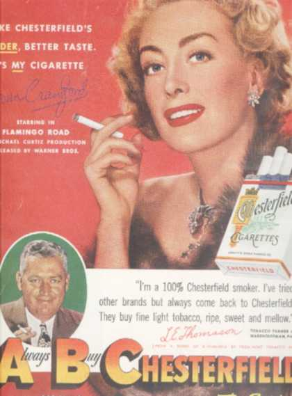 Chesterfield cigarettes – Joan Crawford (1949)