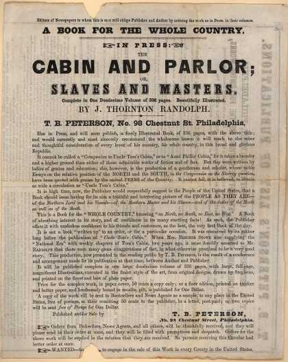 T. B. Peterson's Publications by Peterson – Cabin and Parlor: Slaves and Masters