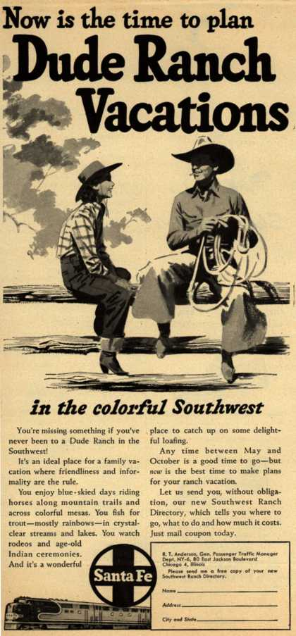 Santa Fe System Line's Southwest – Now is the time to plan Dude Ranch Vacations (1949)