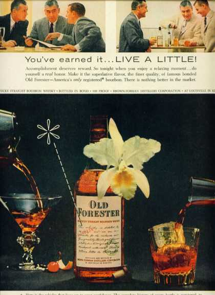 Old Forester Bourbon Whiskey Ad White Orchid (1957)