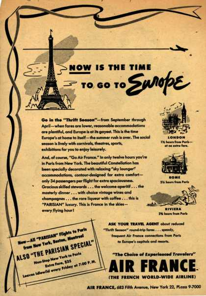 """Air France's """"Thrift Season"""" fares – Now is the Time to go to Europe (1951)"""