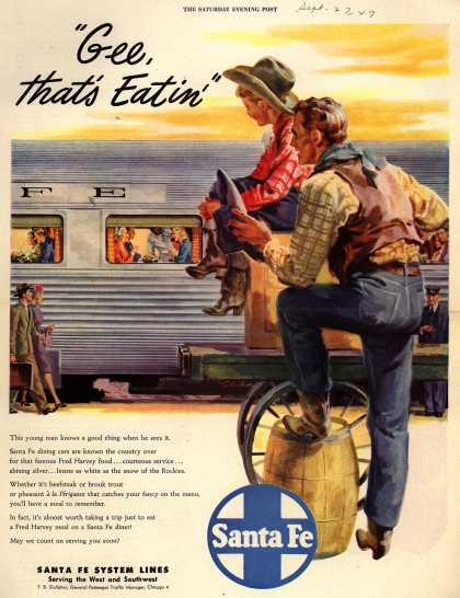 """Santa Fe System Lines – """"Gee, that's Eatin"""" (1947)"""