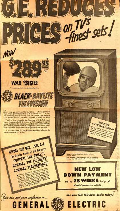 General Electric Company's Television – GE REDUCES PRICES on TV's finest sets (1951)