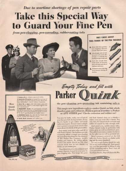Parker Quink Ink for Writing Pens (1942)