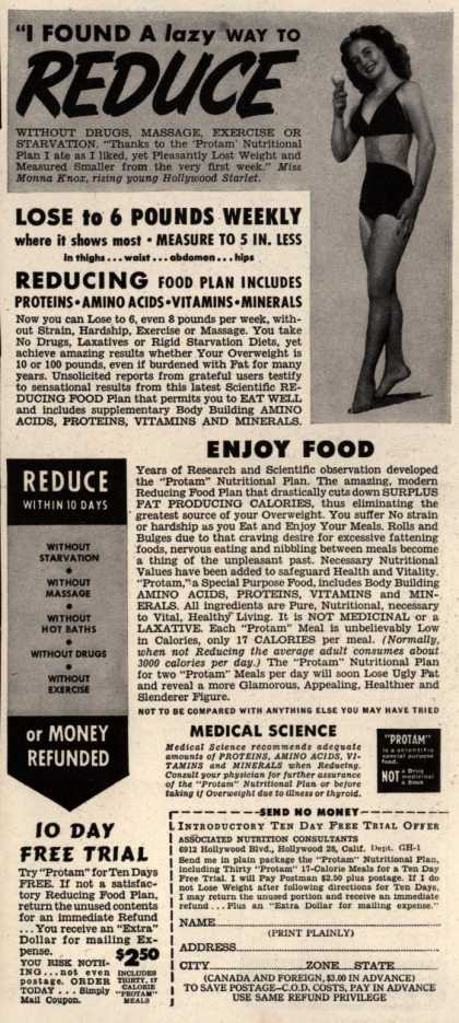 """Associated Nutrition Consultant's Protam Nutritional Plan – """"I Found A lazy Way To Reduce"""" (1949)"""