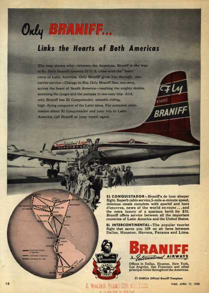 Braniff International Airways – Only BRANIFF... Links the Hearts of Both Americas (1950)