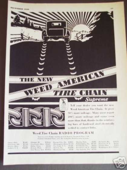 Weed American Tire Chains Sunrise Art (1930)
