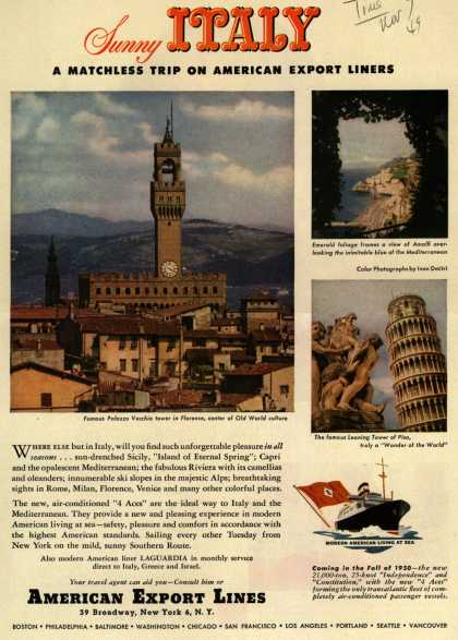 American Export Line's Italy – Sunny ITALY a Matchless Trip on American Export Lines (1949)