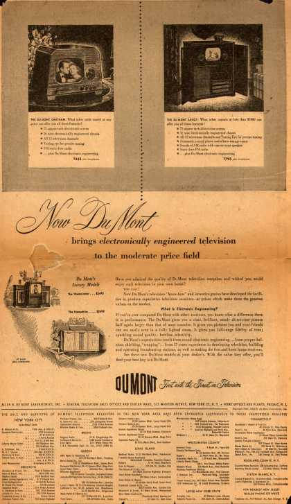 Allen B. Du Mont Laboratorie's Television – Now Du Mont brings electronically engineered television to the moderate price field (1948)
