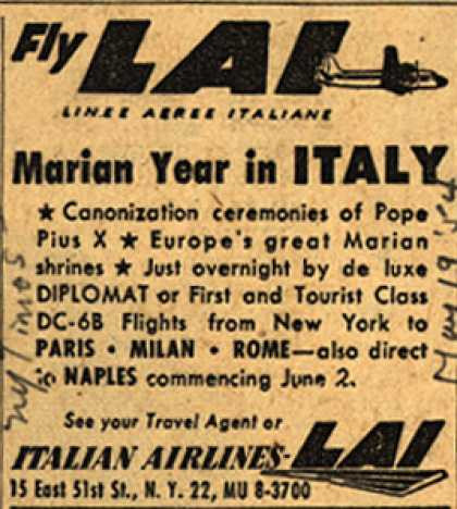 Italian Airline's Italy – Fly LAI Marian Year In Italy (1954)