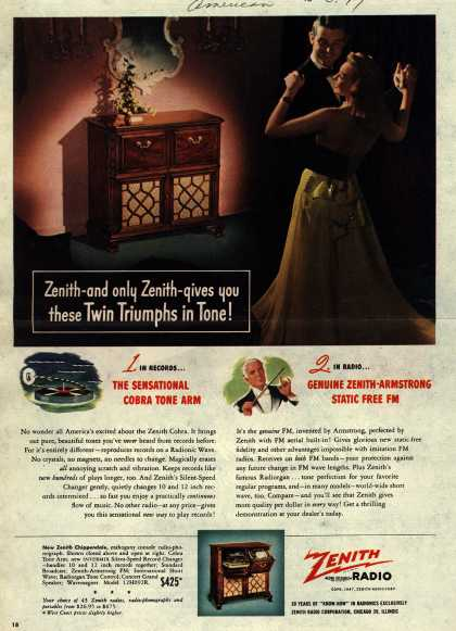Zenith Radio Corporation's Various – Zenith-and only Zenith-gives you these Twin Triumphs in Tone (1947)