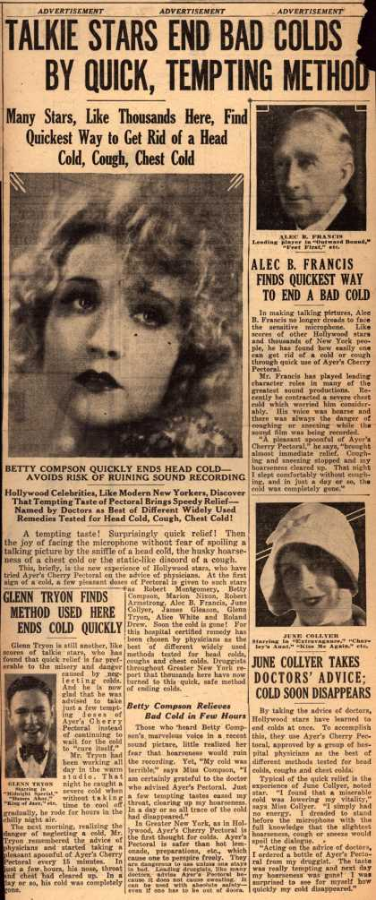 Ayer Laboratorie's Ayer's Cherry Pectoral – Talkie Stars End Bad Colds By Quick, Tempting Method (1931)