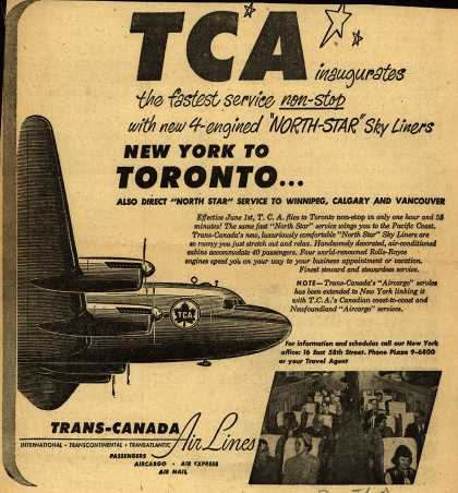 """Trans-Canada Air Line's New York-Toronto – TCA inaugurates the fastest service non-stop with new 4-engined """"North-Star"""" Sky Liners (1948)"""