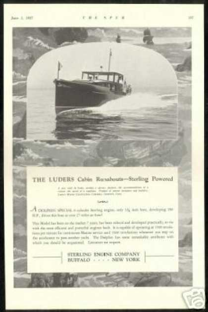 Luders Cabin Runabout Boat Sterling Engine Co (1927)