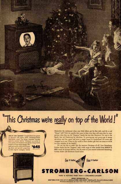 """Stromberg-Carlson Television's """"Emperor"""" – """"This Christmas we're really on top of the World!"""" (1949)"""