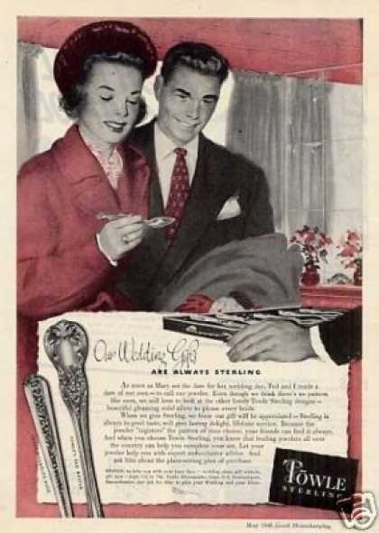 """Towle Sterling Ad """"Our Wedding Gifts... (1948)"""