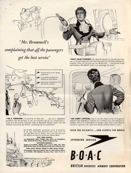 """British Overseas Airways Corporation – """"Mr. Brummell's Complaining That All the Passengers Get the Best Service."""" (1947)"""