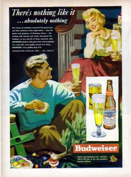 Budweiser Holiday Beer – Glistens with good cheer (1949)