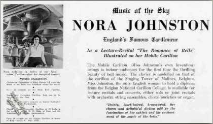 """Nora Johnston """"England's Famous Carilloneur"""" (1939)"""