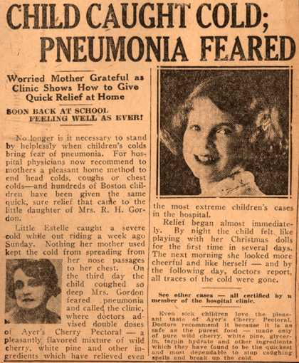 Ayer Laboratorie's Ayer's Cherry Pectoral – Child Caught Cold; Pneumonia Feared