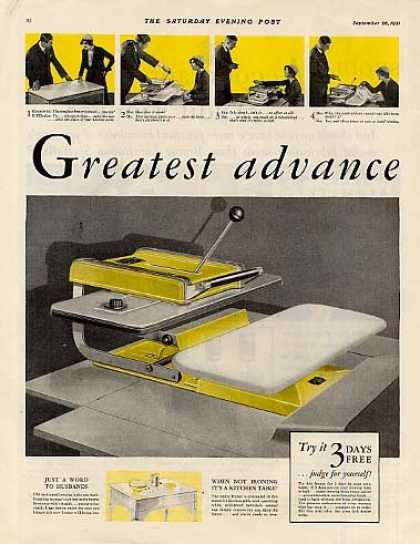 General Electric Flatplate Ironer Color Ad 2 Page (1931)
