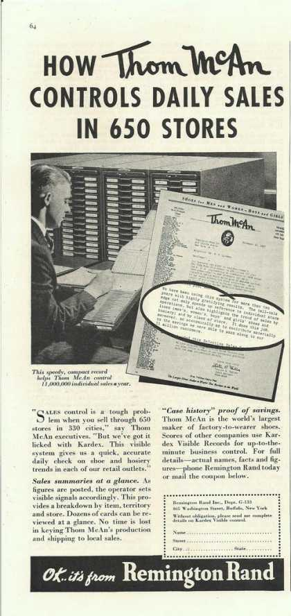 Remington Rand Kardex for Daily Sales (1938)