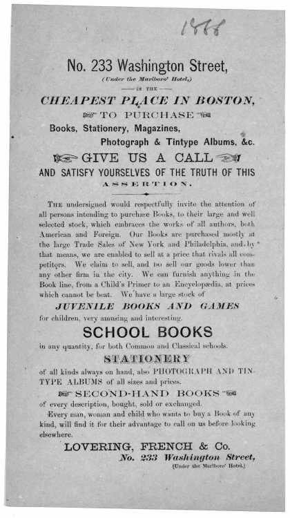 No. 233 Washington Street, (Under the Marlboro' Hotel,) is the cheapest place in Boston, to purchase books, stationery, magazines, photograph & tintyp (1866)