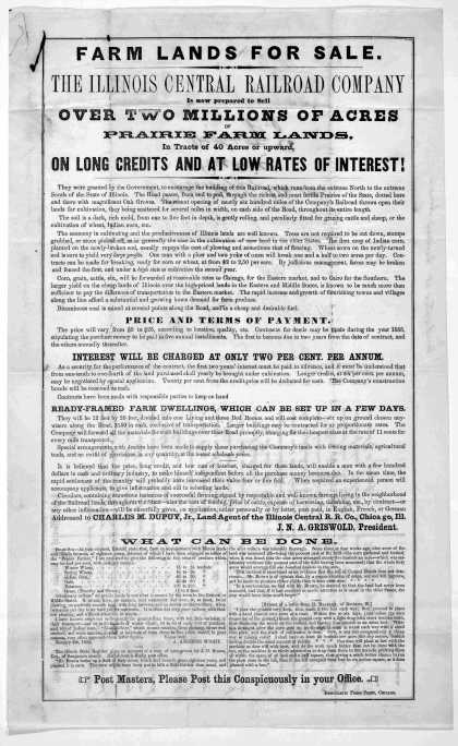 Farm lands for sale. The Illinois central railroad company is now prepared to sell over two millions of acres of prairie farm lands, in tracts of 40 a (1855)