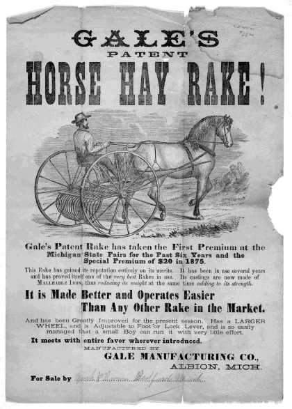 Gale's patent horse hay rake! [Albion, Mich. : Gale Manufacturing Co., 1875?] (1875)