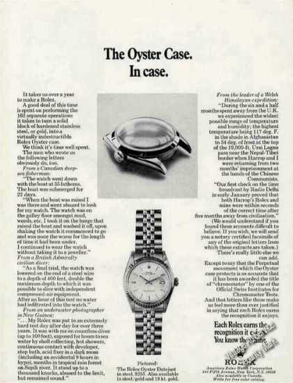 """Rolex Watch """"The Oyster Case. In Case."""" (1971)"""