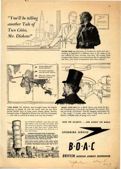 """British Overseas Airways Corporation – """"You'll Be Telling Another Tale of Two Cities, Mr. Dickens."""" (1947)"""