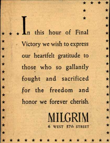 Milgrim's Post-War thanks – In this hour of Final Victory (1945)
