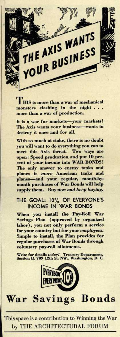 Treasury Department's War Bonds – The Axis Wants Your Business (1943)