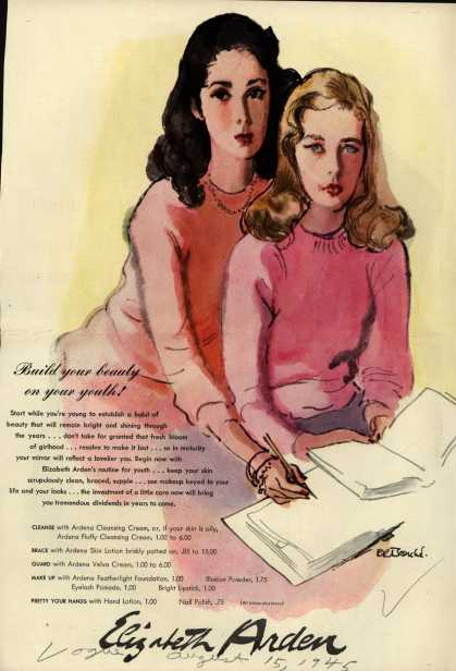 Elizabeth Arden – Build your beauty on your youth (1945)