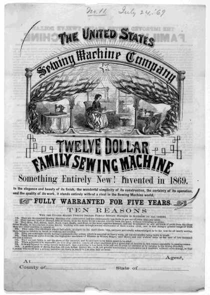 [Circular letter and circular describing the United States family sewing machine] [Biddeford, Maine. 1869]. (1869)