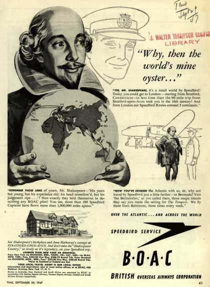 """British Overseas Airways Corporation – """"Why, then the world's mine oyster..."""" (1947)"""
